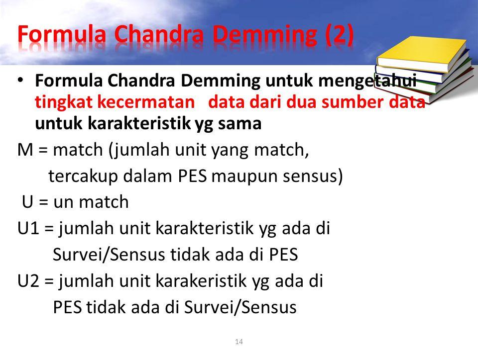 14 Formula Chandra Demming untuk mengetahui tingkat kecermatan data dari dua sumber data untuk karakteristik yg sama M = match (jumlah unit yang match