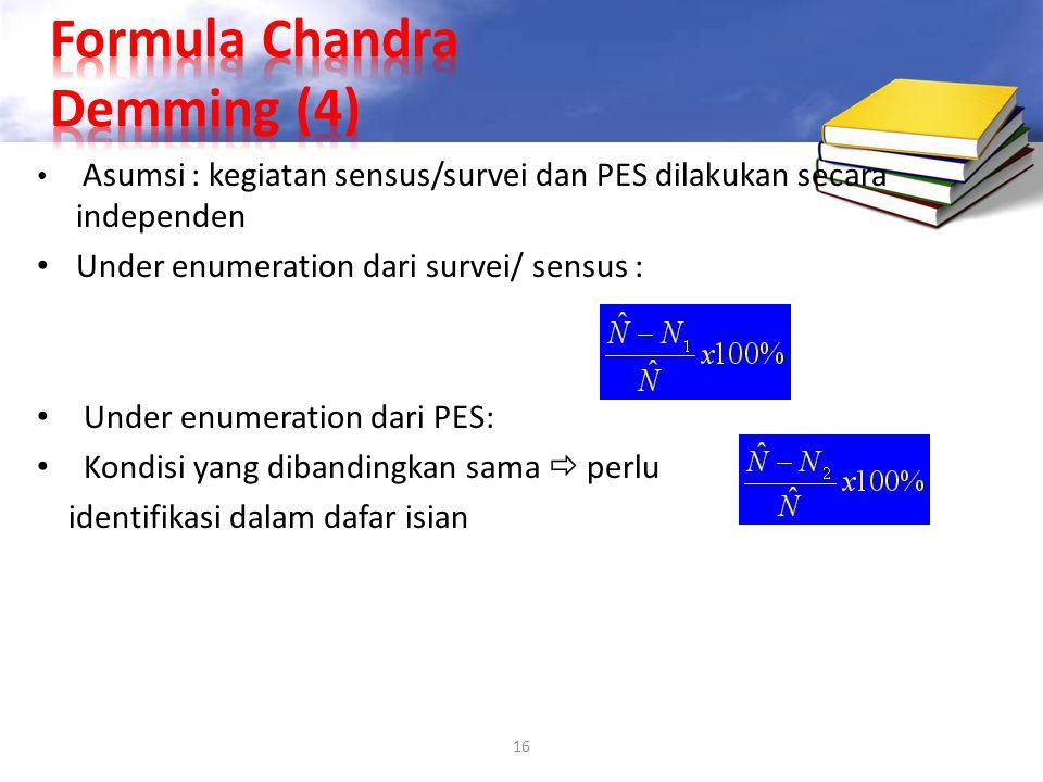 16 Asumsi : kegiatan sensus/survei dan PES dilakukan secara independen Under enumeration dari survei/ sensus : Under enumeration dari PES: Kondisi yan