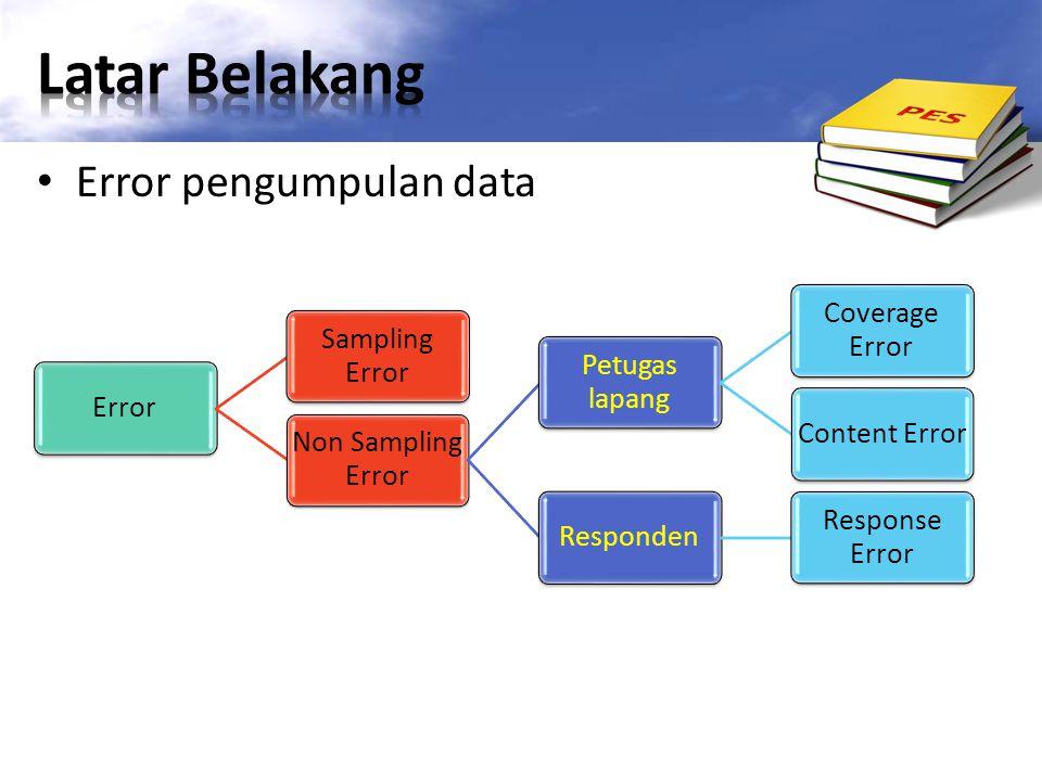 Error pengumpulan data Error Sampling Error Non Sampling Error Petugas lapang Coverage Error Content ErrorResponden Response Error