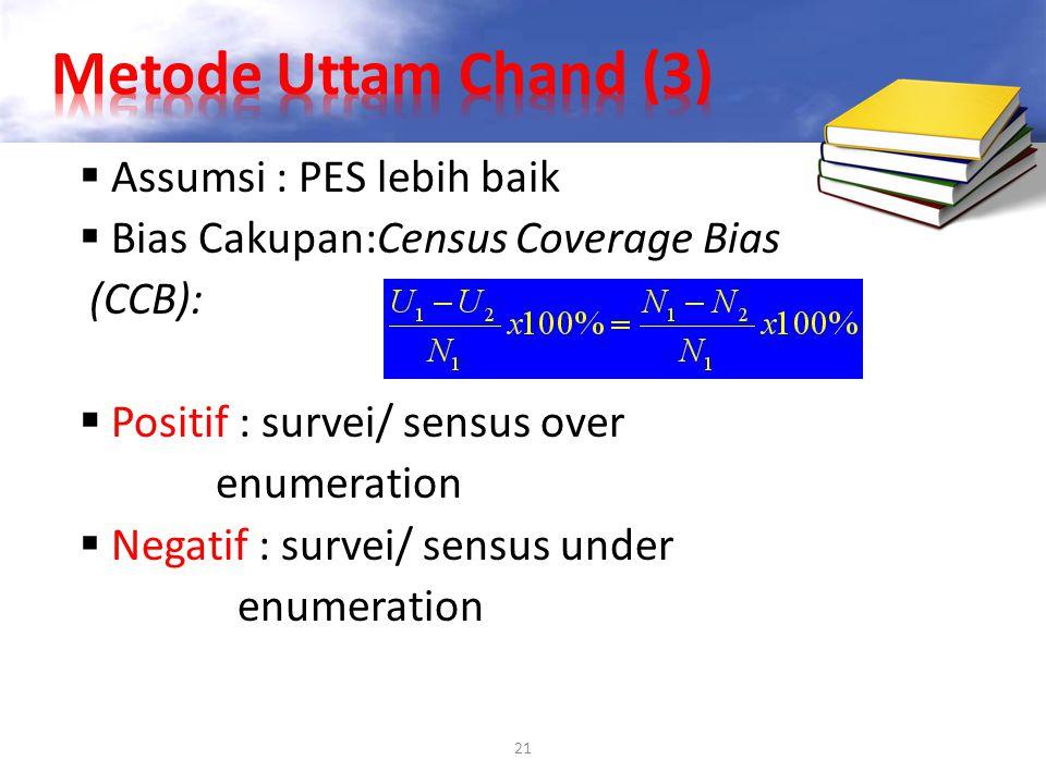 21  Assumsi : PES lebih baik  Bias Cakupan:Census Coverage Bias (CCB):  Positif : survei/ sensus over enumeration  Negatif : survei/ sensus under
