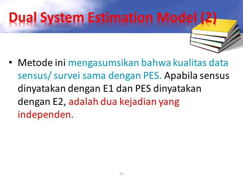 31 Metode ini mengasumsikan bahwa kualitas data sensus/ survei sama dengan PES. Apabila sensus dinyatakan dengan E1 dan PES dinyatakan dengan E2, adal