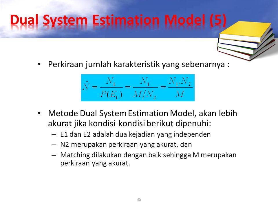 35 Perkiraan jumlah karakteristik yang sebenarnya : Metode Dual System Estimation Model, akan lebih akurat jika kondisi-kondisi berikut dipenuhi: – E1