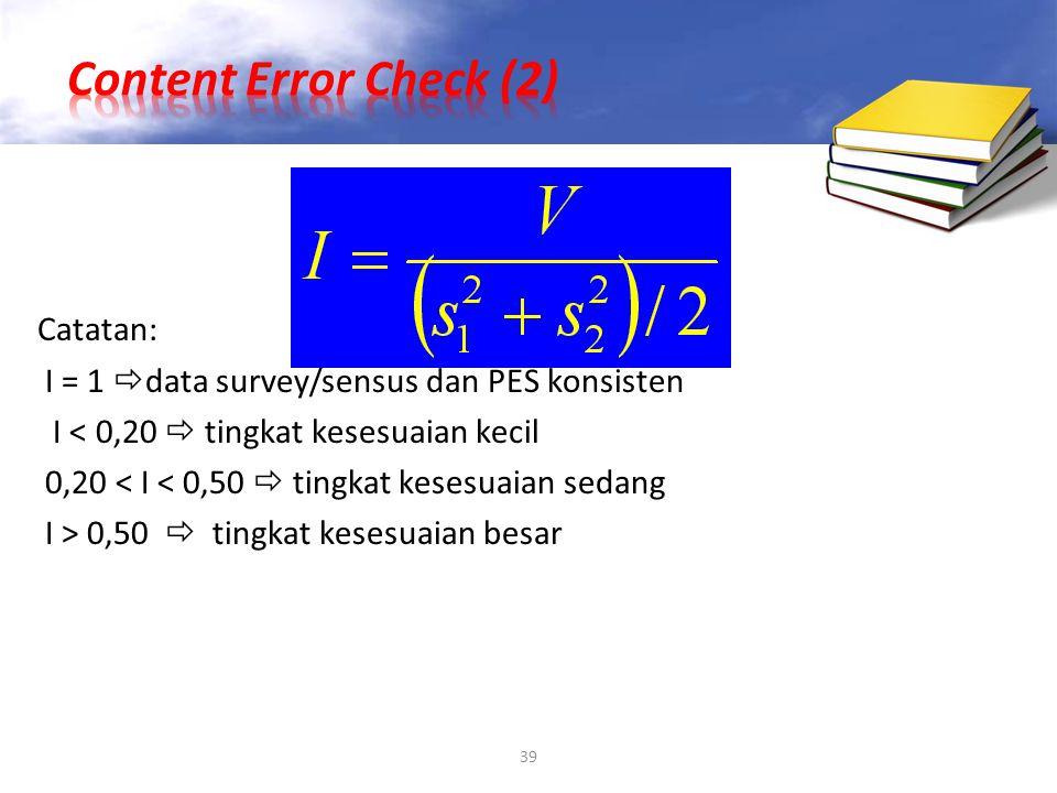 39 Catatan: I = 1  data survey/sensus dan PES konsisten I < 0,20  tingkat kesesuaian kecil 0,20 < I < 0,50  tingkat kesesuaian sedang I > 0,50  ti