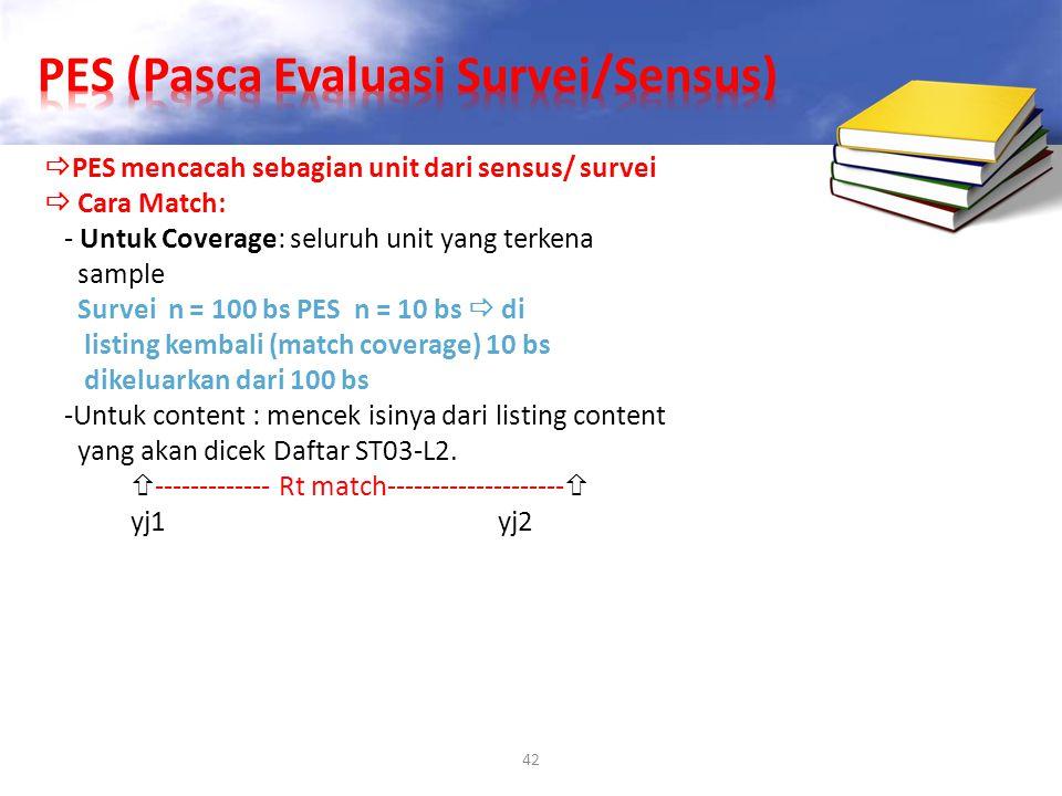 42  PES mencacah sebagian unit dari sensus/ survei  Cara Match: - Untuk Coverage: seluruh unit yang terkena sample Survei n = 100 bs PES n = 10 bs 