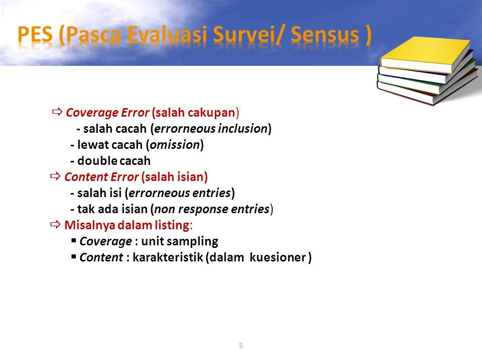 5  Coverage Error (salah cakupan) - salah cacah (errorneous inclusion) - lewat cacah (omission) - double cacah  Content Error (salah isian) - salah