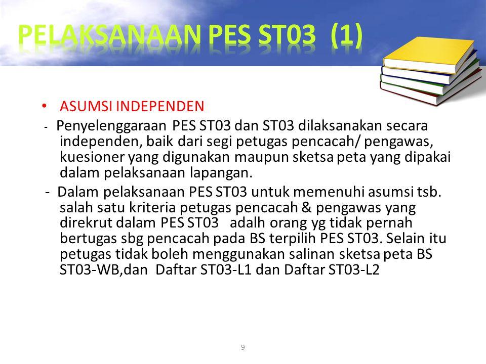 9 ASUMSI INDEPENDEN - Penyelenggaraan PES ST03 dan ST03 dilaksanakan secara independen, baik dari segi petugas pencacah/ pengawas, kuesioner yang digu