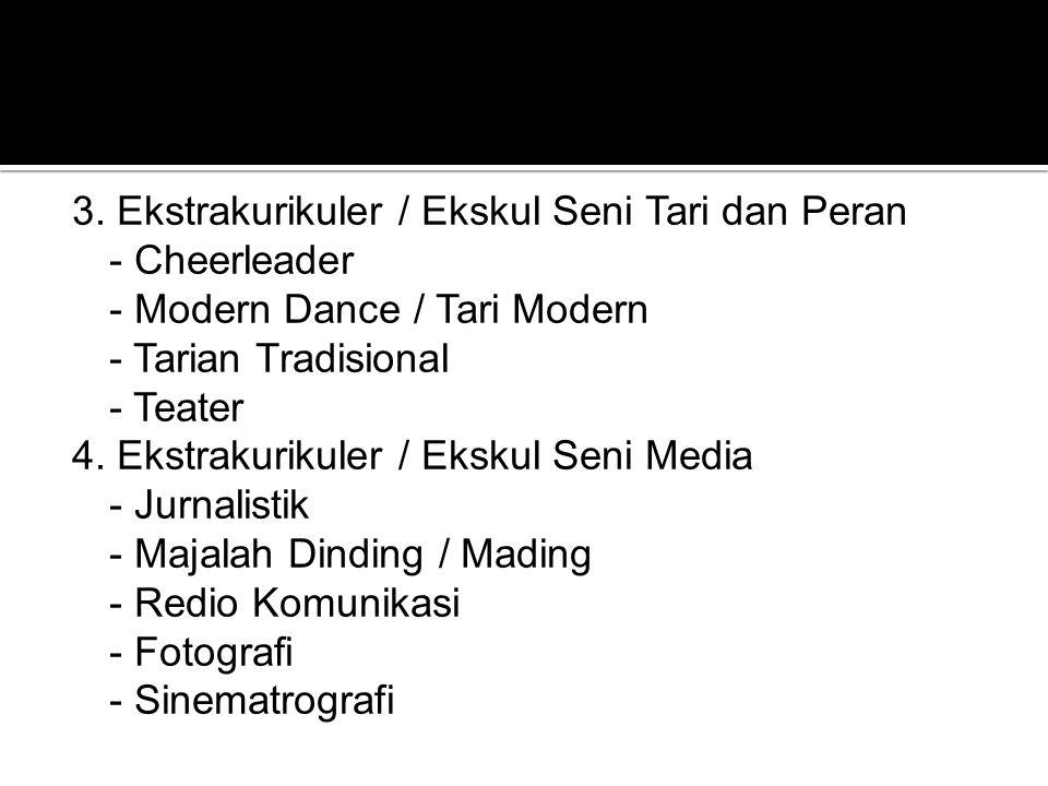 3. Ekstrakurikuler / Ekskul Seni Tari dan Peran - Cheerleader - Modern Dance / Tari Modern - Tarian Tradisional - Teater 4. Ekstrakurikuler / Ekskul S