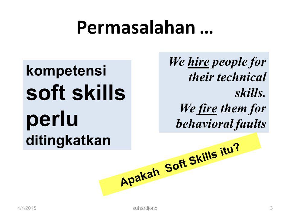 Permasalahan … 4/4/2015suhardjono3 kompetensi soft skills perlu ditingkatkan We hire people for their technical skills.