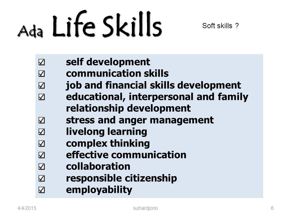 Soft Skills : Apa itu? 4/4/2015suhardjono5 Keterampilan dalam … Berpikir Analisis Berpikir Logis Berkomunikasi Bekerja secara tim Bekerja mandiri, dll