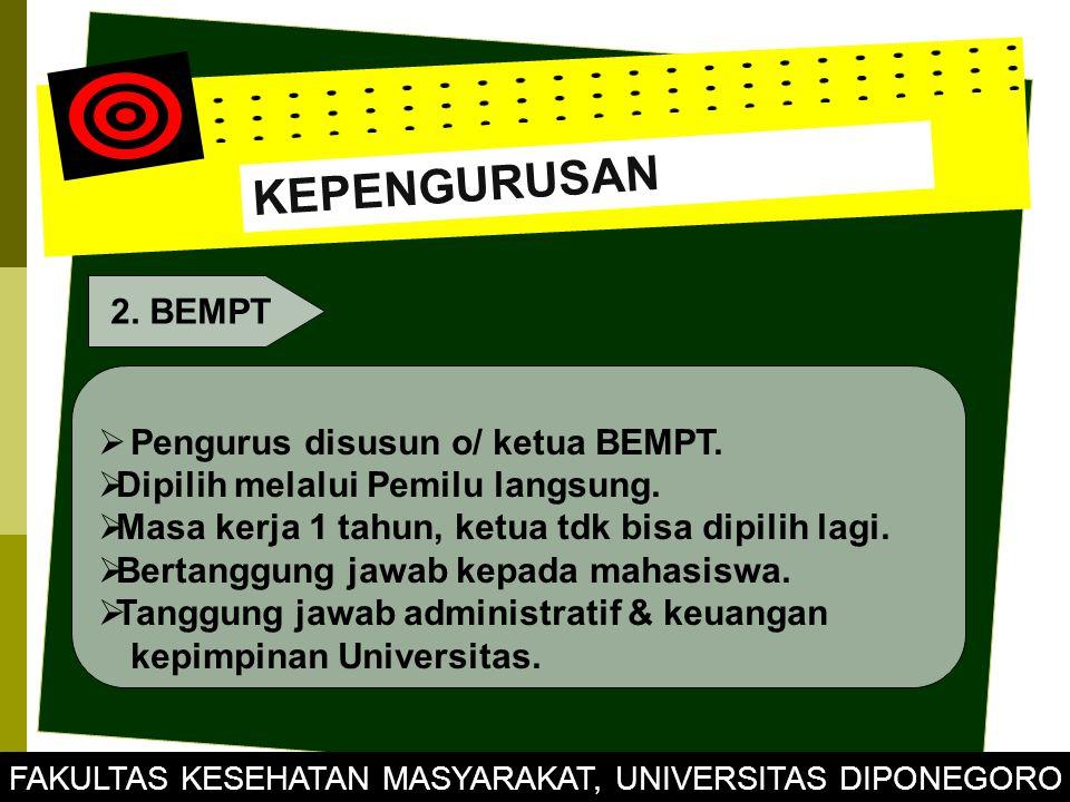 KEPENGURUSAN 2.BEMPT  Pengurus disusun o/ ketua BEMPT.