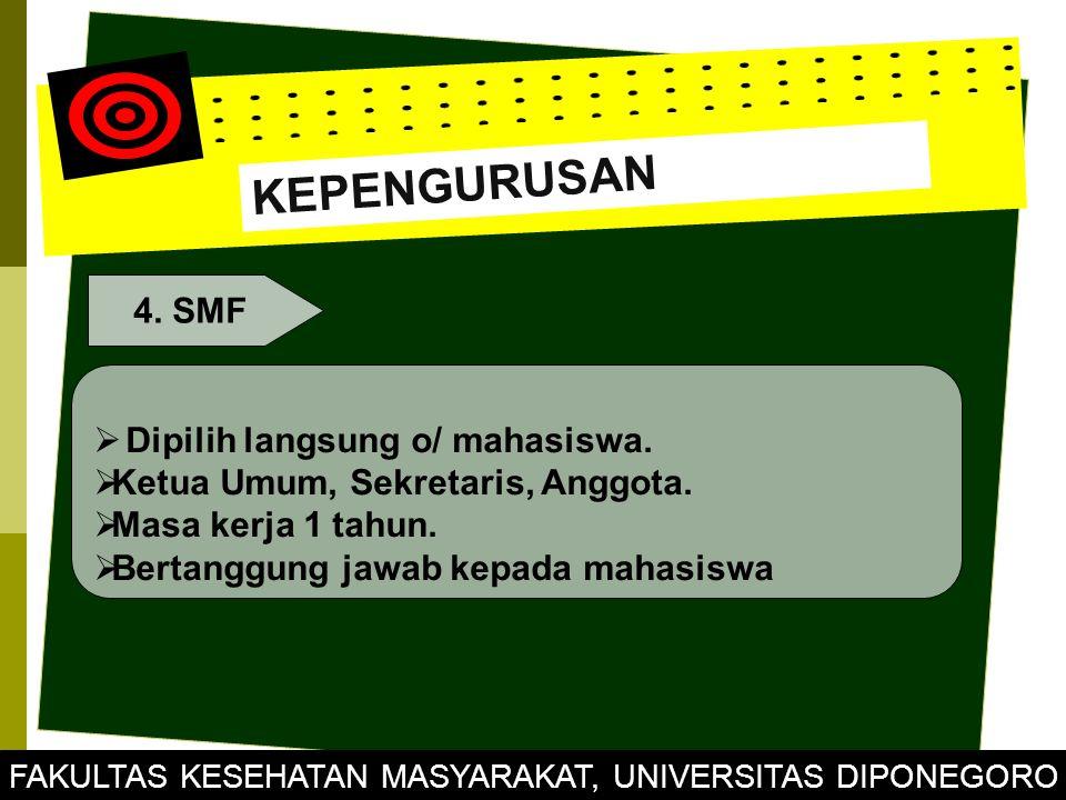 KEPENGURUSAN 4. SMF  Dipilih langsung o/ mahasiswa.  Ketua Umum, Sekretaris, Anggota.  Masa kerja 1 tahun.  Bertanggung jawab kepada mahasiswa FAK