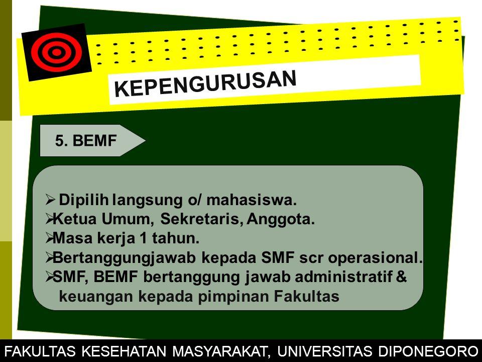 KEPENGURUSAN 5. BEMF  Dipilih langsung o/ mahasiswa.  Ketua Umum, Sekretaris, Anggota.  Masa kerja 1 tahun.  Bertanggungjawab kepada SMF scr opera