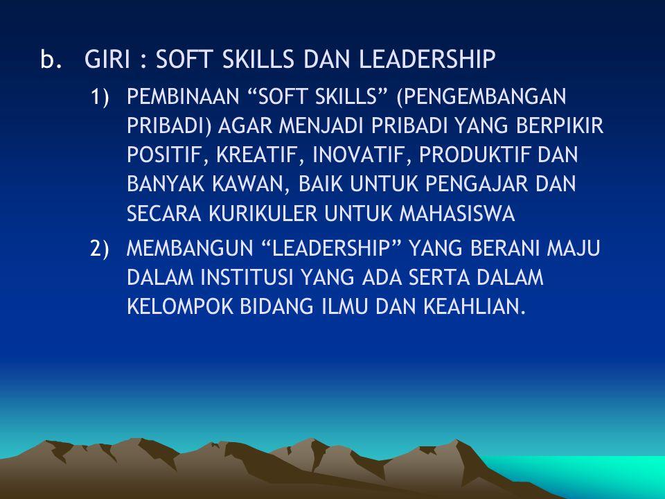 """b.GIRI : SOFT SKILLS DAN LEADERSHIP 1)PEMBINAAN """"SOFT SKILLS"""" (PENGEMBANGAN PRIBADI) AGAR MENJADI PRIBADI YANG BERPIKIR POSITIF, KREATIF, INOVATIF, PR"""