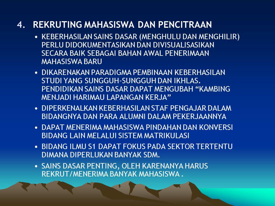 4.REKRUTING MAHASISWA DAN PENCITRAAN KEBERHASILAN SAINS DASAR (MENGHULU DAN MENGHILIR) PERLU DIDOKUMENTASIKAN DAN DIVISUALISASIKAN SECARA BAIK SEBAGAI