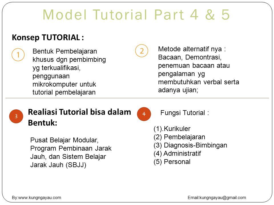 Model Tutorial Part 4 & 5 Konsep TUTORIAL : Realiasi Tutorial bisa dalam Bentuk: Bentuk Pembelajaran khusus dgn pembimbing yg terkualifikasi, penggunaan mikrokomputer untuk tutorial pembelajaran Metode alternatif nya : Bacaan, Demontrasi, penemuan bacaan atau pengalaman yg membutuhkan verbal serta adanya ujian; 3 Pusat Belajar Modular, Program Pembinaan Jarak Jauh, dan Sistem Belajar Jarak Jauh (SBJJ) Fungsi Tutorial : 4 (1).Kurikuler (2) Pembelajaran (3) Diagnosis-Bimbingan (4) Administratif (5) Personal By:www.kungngayau.comEmail:kungngayau@gmail.com