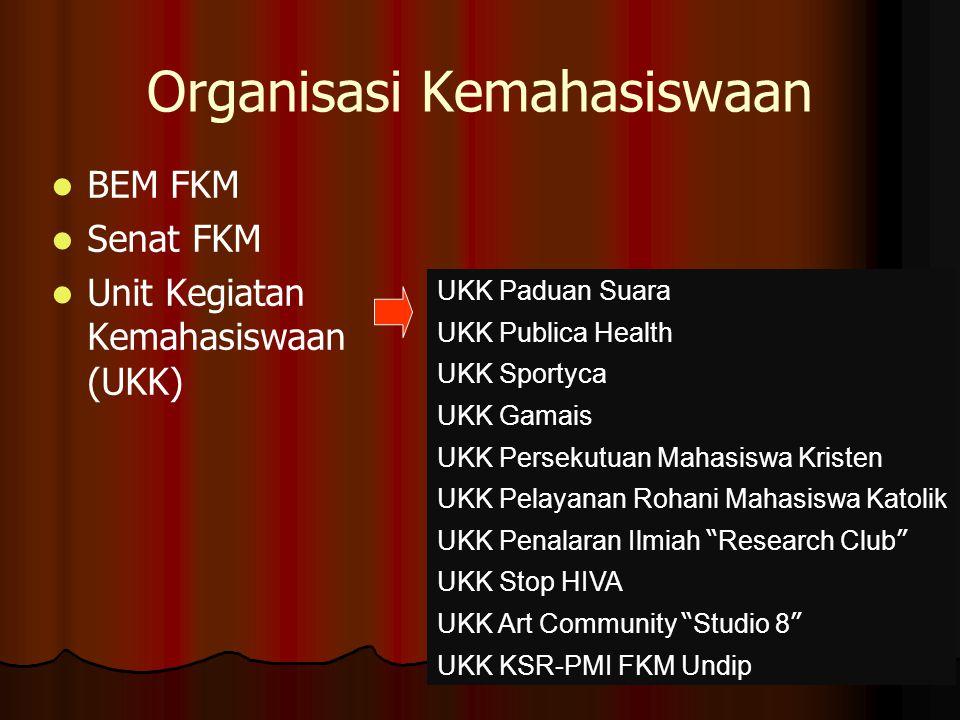 Organisasi Kemahasiswaan BEM FKM Senat FKM Unit Kegiatan Kemahasiswaan (UKK) UKK Paduan Suara UKK Publica Health UKK Sportyca UKK Gamais UKK Persekutu