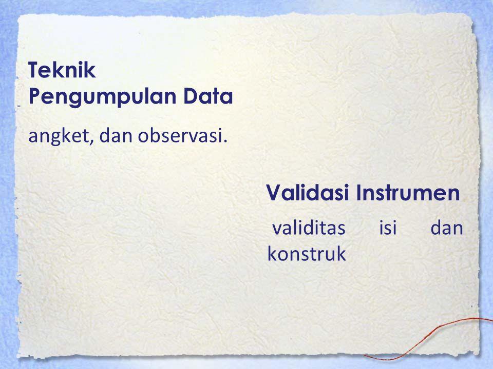 Teknik Pengumpulan Data angket, dan observasi. Validasi Instrumen validitas isi dan konstruk