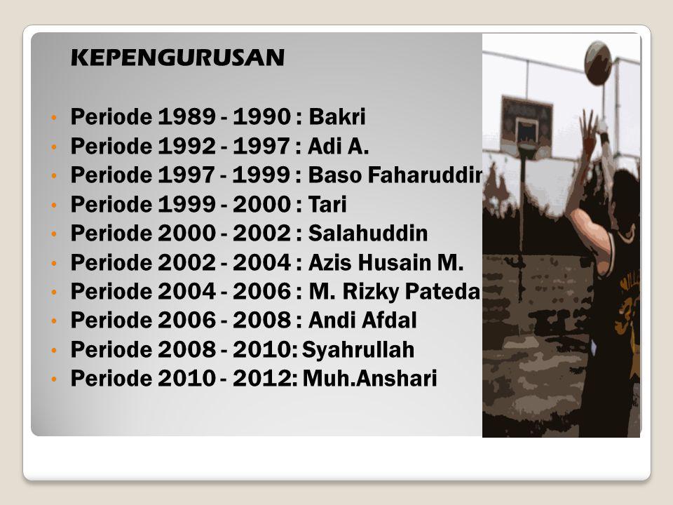 KEPENGURUSAN Periode 1989 - 1990 : Bakri Periode 1992 - 1997 : Adi A. Periode 1997 - 1999 : Baso Faharuddin Periode 1999 - 2000 : Tari Periode 2000 -