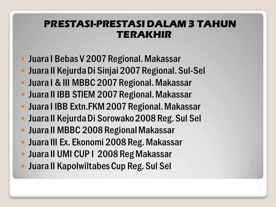 PRESTASI-PRESTASI DALAM 3 TAHUN TERAKHIR Juara I Bebas V 2007 Regional. Makassar Juara II Kejurda Di Sinjai 2007 Regional. Sul-Sel Juara I & III MBBC