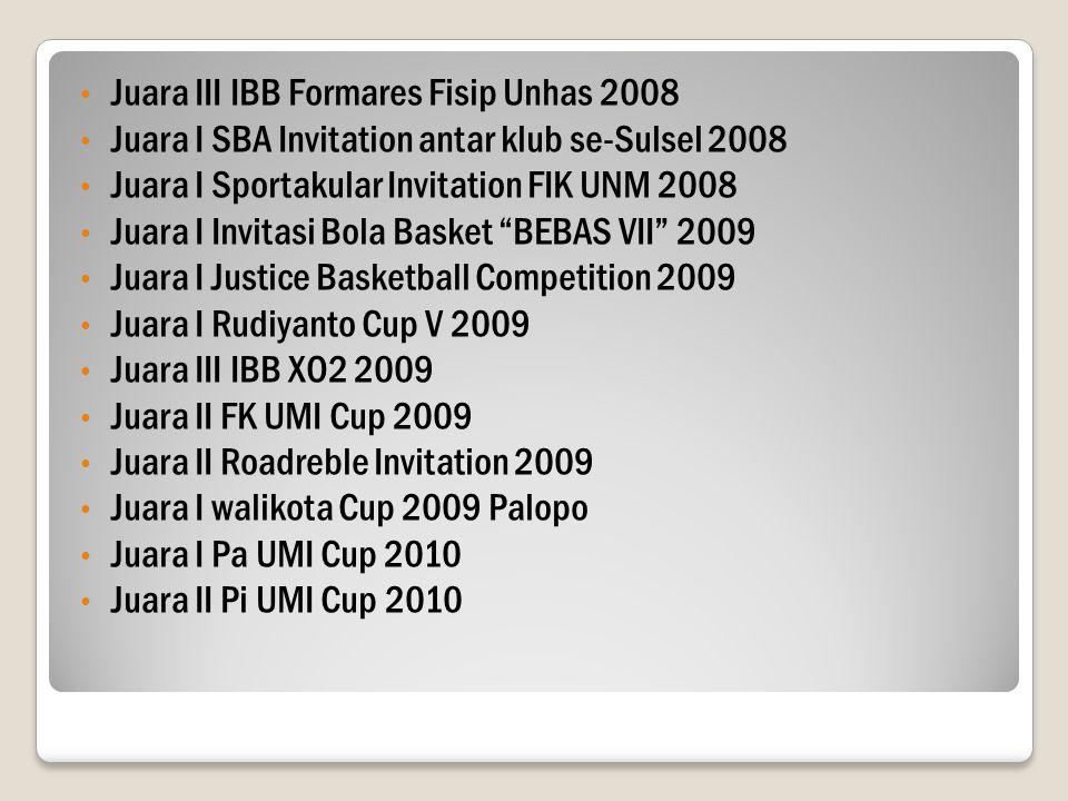 Juara III IBB Formares Fisip Unhas 2008 Juara I SBA Invitation antar klub se-Sulsel 2008 Juara I Sportakular Invitation FIK UNM 2008 Juara I Invitasi