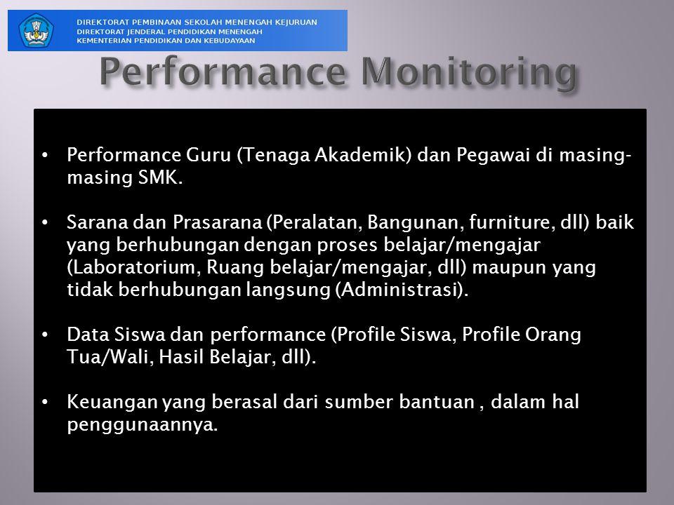 Performance Guru (Tenaga Akademik) dan Pegawai di masing- masing SMK. Sarana dan Prasarana (Peralatan, Bangunan, furniture, dll) baik yang berhubungan