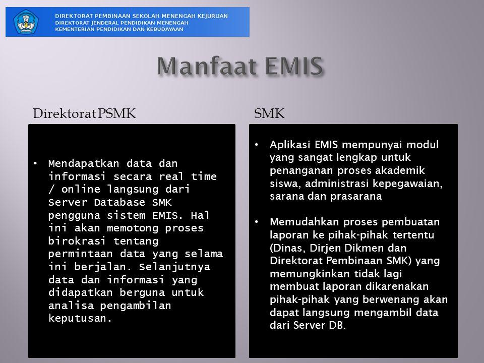 Direktorat PSMK SMK Mendapatkan data dan informasi secara real time / online langsung dari Server Database SMK pengguna sistem EMIS. Hal ini akan memo