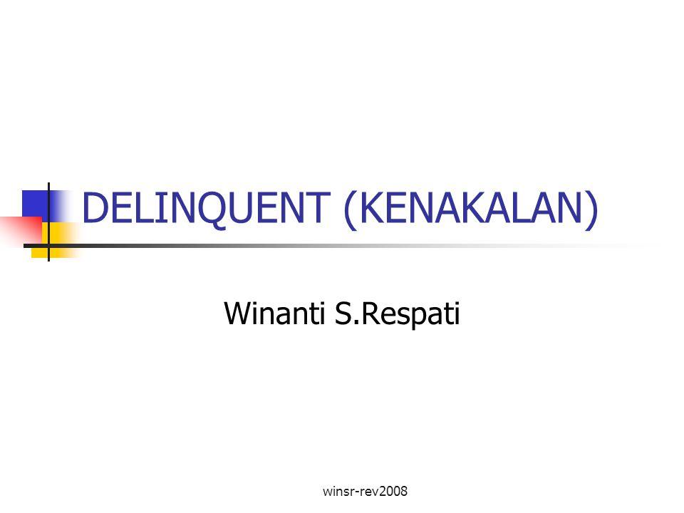 winsr-rev2008 Tujuan Mahasiswa memahami pengertian delinquent, tipe-tipenya, faktor-faktor yang menyebabkan delinquent, serta penanganan delinquent.