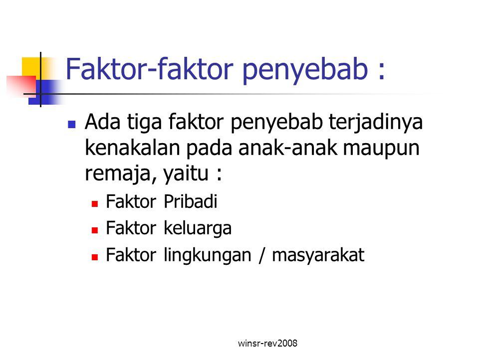 winsr-rev2008 Faktor-faktor penyebab : Ada tiga faktor penyebab terjadinya kenakalan pada anak-anak maupun remaja, yaitu : Faktor Pribadi Faktor kelua