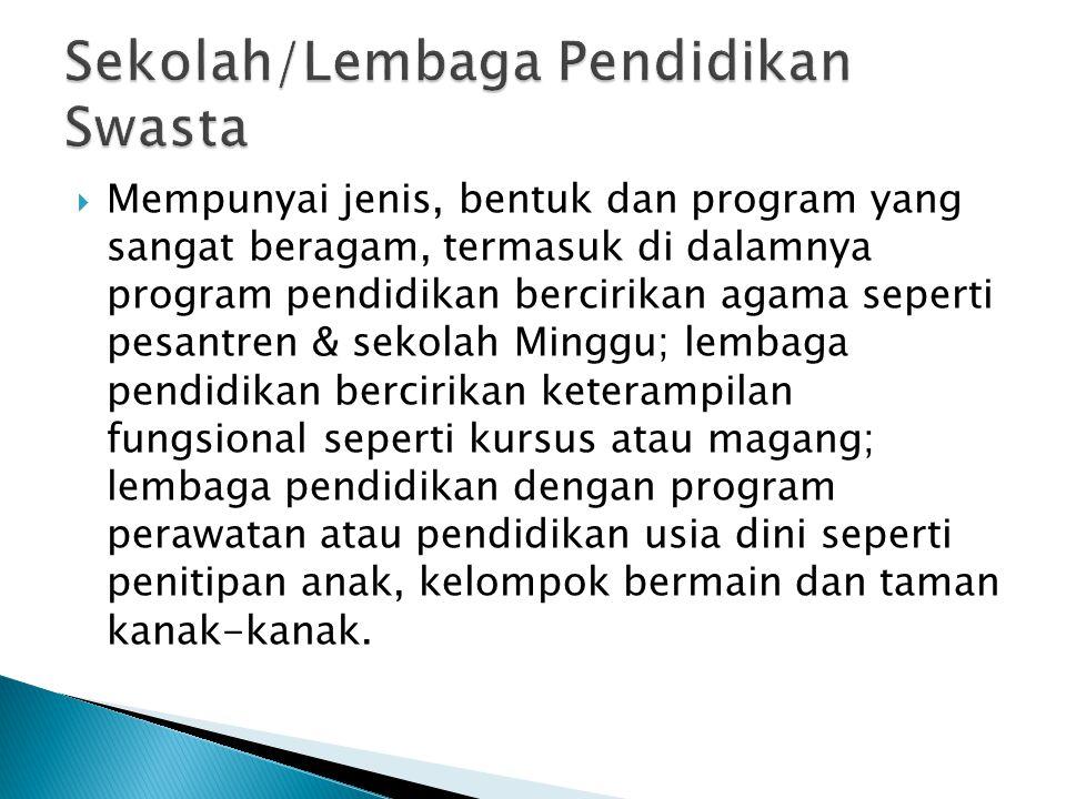  Mempunyai jenis, bentuk dan program yang sangat beragam, termasuk di dalamnya program pendidikan bercirikan agama seperti pesantren & sekolah Minggu