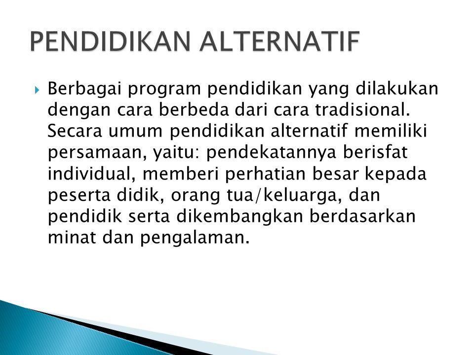  Berbagai program pendidikan yang dilakukan dengan cara berbeda dari cara tradisional. Secara umum pendidikan alternatif memiliki persamaan, yaitu: p