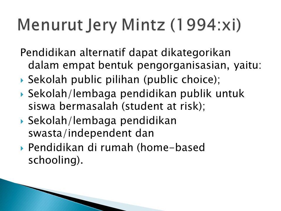 Pendidikan alternatif dapat dikategorikan dalam empat bentuk pengorganisasian, yaitu:  Sekolah public pilihan (public choice);  Sekolah/lembaga pend