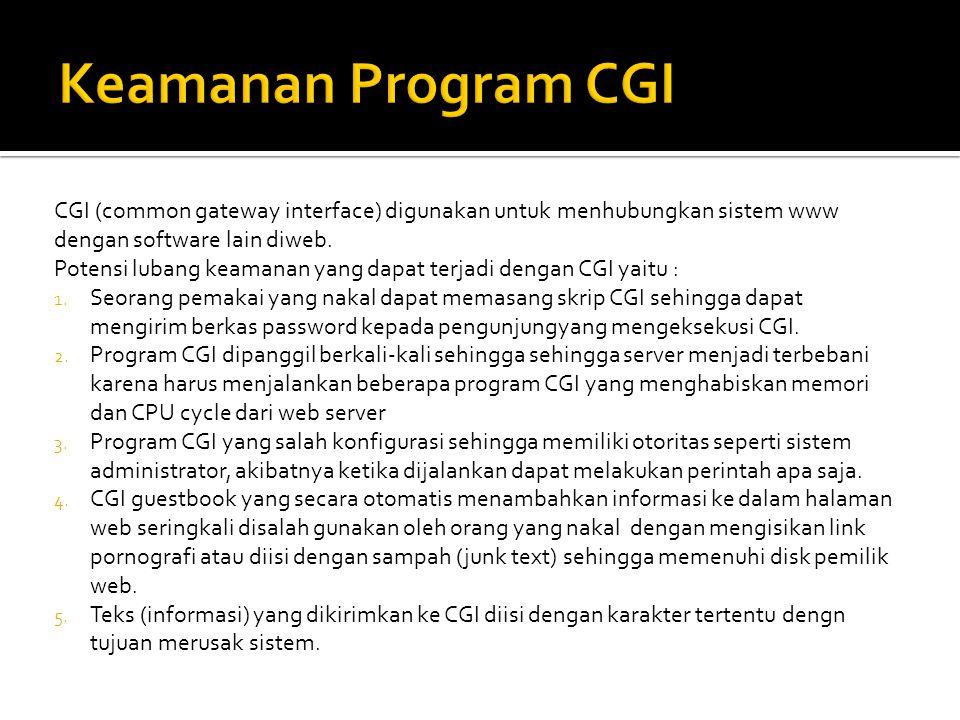 CGI (common gateway interface) digunakan untuk menhubungkan sistem www dengan software lain diweb. Potensi lubang keamanan yang dapat terjadi dengan C