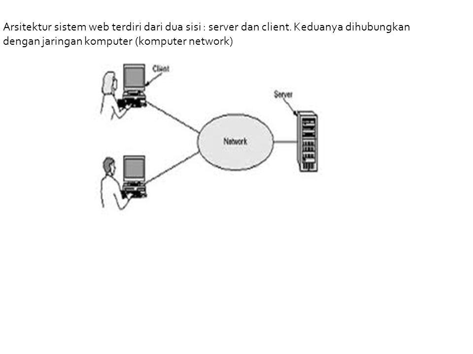 Arsitektur sistem web terdiri dari dua sisi : server dan client. Keduanya dihubungkan dengan jaringan komputer (komputer network)