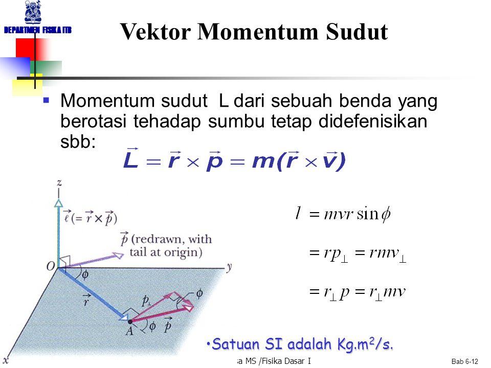 Dr. Linus Pasasa MS /Fisika Dasar I DEPARTMEN FISIKA ITB Bab 6-12 Vektor Momentum Sudut  Momentum sudut L dari sebuah benda yang berotasi tehadap sum