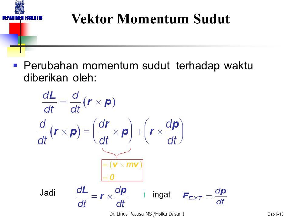 Dr. Linus Pasasa MS /Fisika Dasar I DEPARTMEN FISIKA ITB Bab 6-13 Vektor Momentum Sudut  Perubahan momentum sudut terhadap waktu diberikan oleh: Jadi
