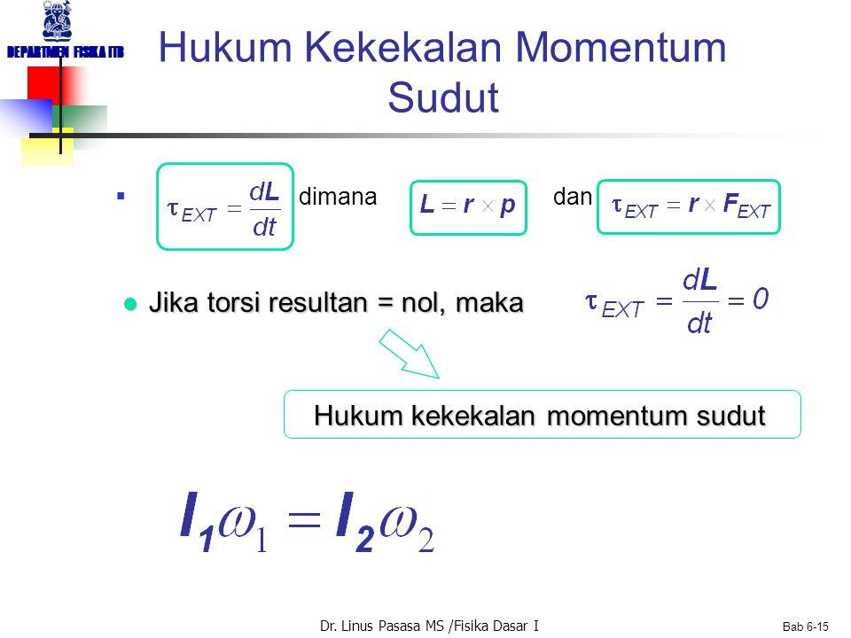 Dr. Linus Pasasa MS /Fisika Dasar I DEPARTMEN FISIKA ITB Bab 6-15 Hukum Kekekalan Momentum Sudut  dimana dan l Jika torsi resultan = nol, maka Hukum