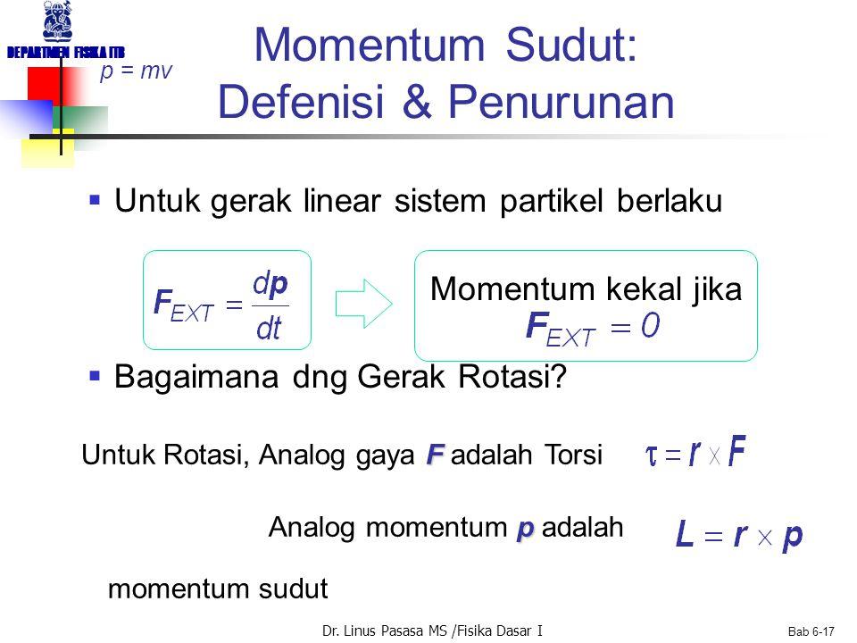 Dr. Linus Pasasa MS /Fisika Dasar I DEPARTMEN FISIKA ITB Bab 6-17 Momentum Sudut: Defenisi & Penurunan  Untuk gerak linear sistem partikel berlaku Mo