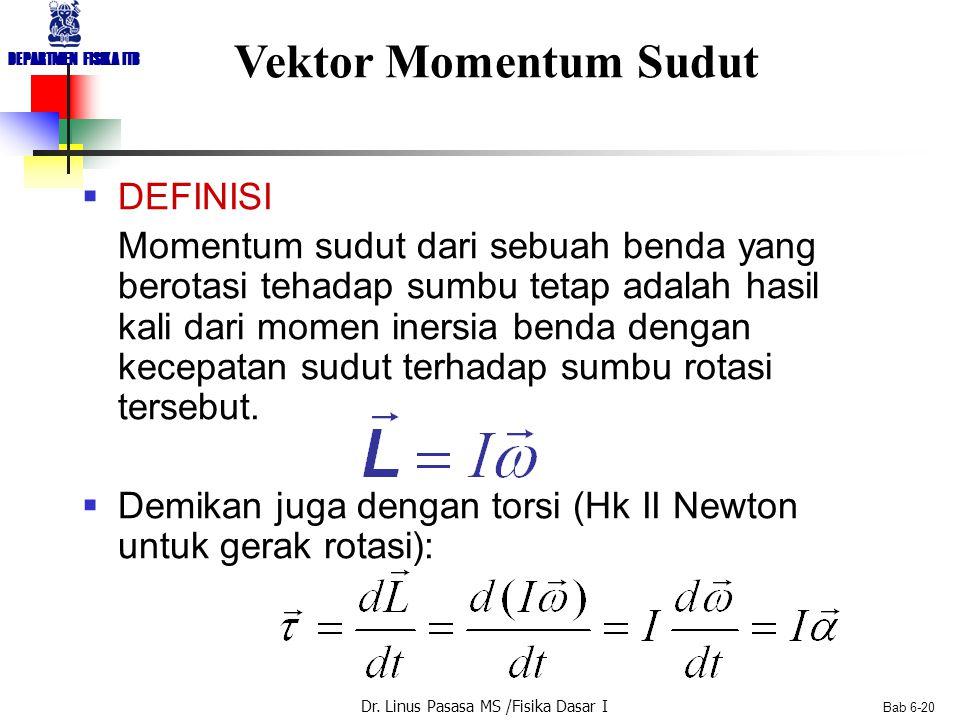 Dr. Linus Pasasa MS /Fisika Dasar I DEPARTMEN FISIKA ITB Bab 6-20 Vektor Momentum Sudut  DEFINISI Momentum sudut dari sebuah benda yang berotasi teha