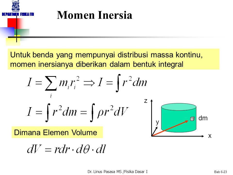 Dr. Linus Pasasa MS /Fisika Dasar I DEPARTMEN FISIKA ITB Bab 6-23 Momen Inersia Untuk benda yang mempunyai distribusi massa kontinu, momen inersianya