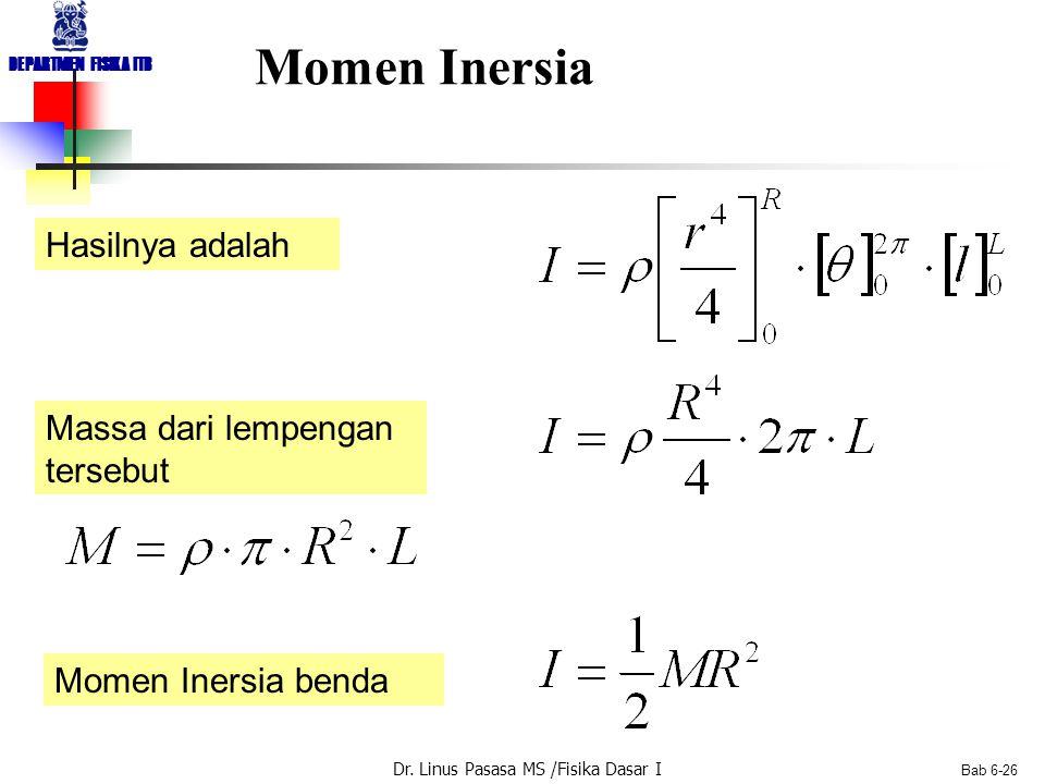 Dr. Linus Pasasa MS /Fisika Dasar I DEPARTMEN FISIKA ITB Bab 6-26 Momen Inersia Hasilnya adalah Massa dari lempengan tersebut Momen Inersia benda