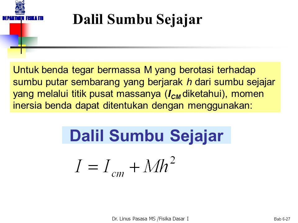 Dr. Linus Pasasa MS /Fisika Dasar I DEPARTMEN FISIKA ITB Bab 6-27 Dalil Sumbu Sejajar Untuk benda tegar bermassa M yang berotasi terhadap sumbu putar