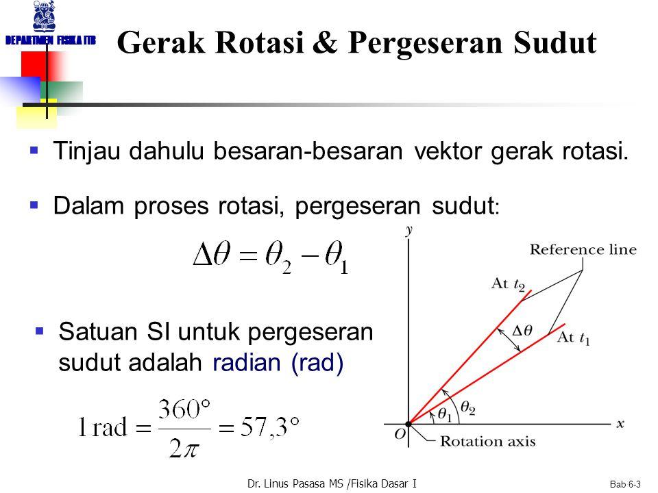 Dr. Linus Pasasa MS /Fisika Dasar I DEPARTMEN FISIKA ITB Bab 6-3 Gerak Rotasi & Pergeseran Sudut  Tinjau dahulu besaran-besaran vektor gerak rotasi.