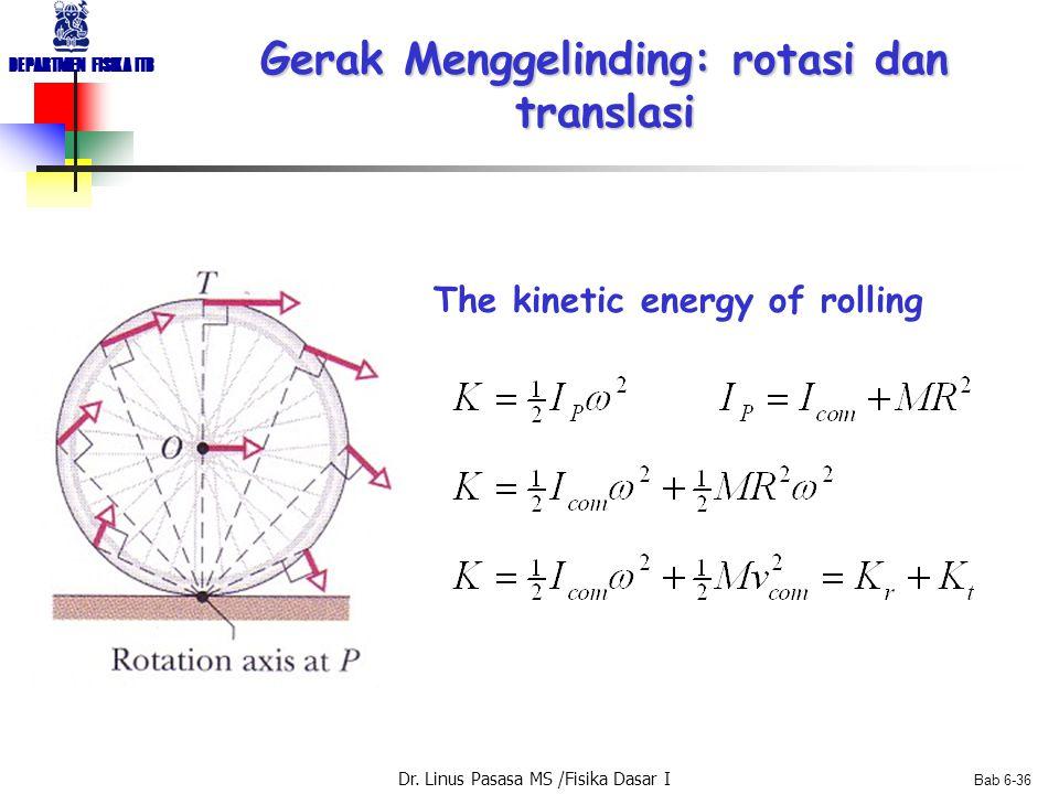 Dr. Linus Pasasa MS /Fisika Dasar I DEPARTMEN FISIKA ITB Bab 6-36 Gerak Menggelinding: rotasi dan translasi The kinetic energy of rolling