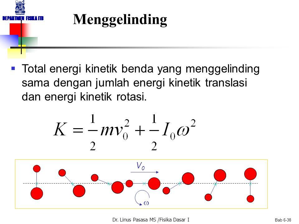 Dr. Linus Pasasa MS /Fisika Dasar I DEPARTMEN FISIKA ITB Bab 6-38 Menggelinding  Total energi kinetik benda yang menggelinding sama dengan jumlah ene