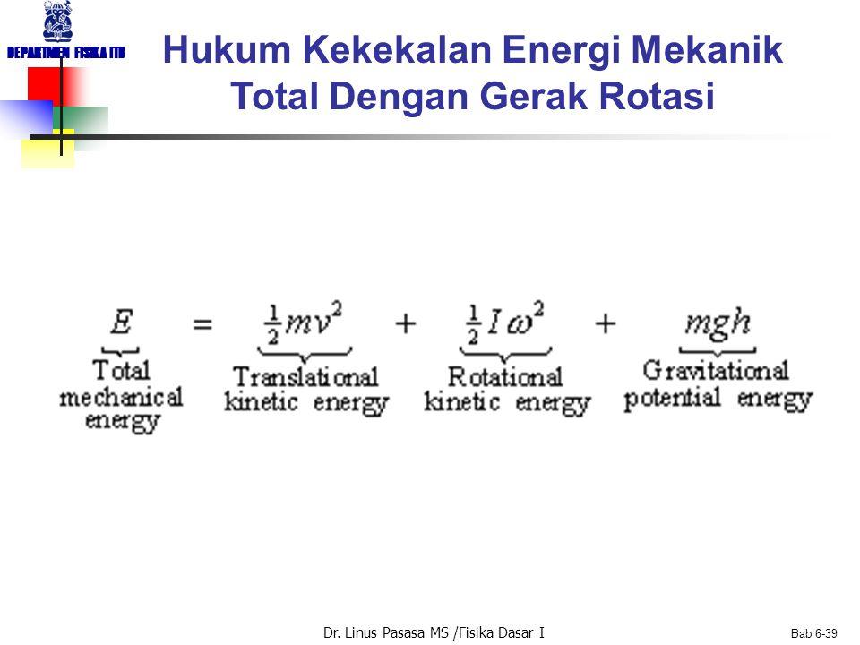 Dr. Linus Pasasa MS /Fisika Dasar I DEPARTMEN FISIKA ITB Bab 6-39 Hukum Kekekalan Energi Mekanik Total Dengan Gerak Rotasi