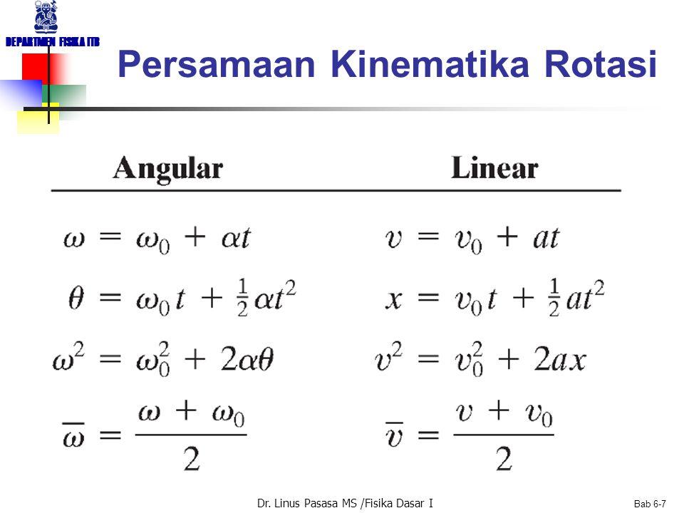 Dr. Linus Pasasa MS /Fisika Dasar I DEPARTMEN FISIKA ITB Bab 6-7 Persamaan Kinematika Rotasi