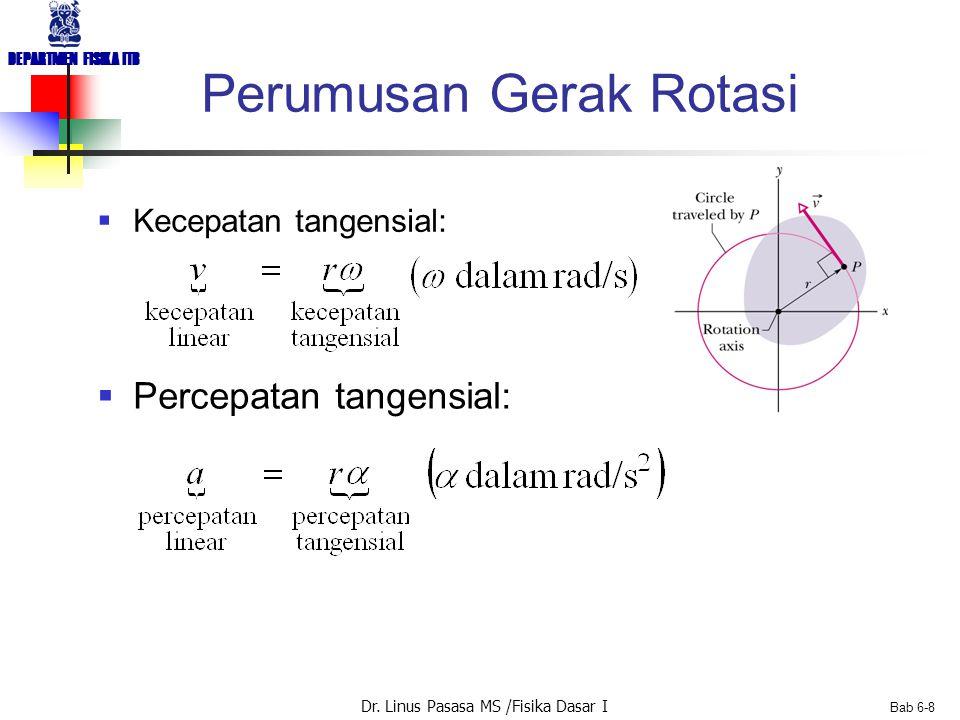 Dr. Linus Pasasa MS /Fisika Dasar I DEPARTMEN FISIKA ITB Bab 6-8 Perumusan Gerak Rotasi  Kecepatan tangensial:  Percepatan tangensial: