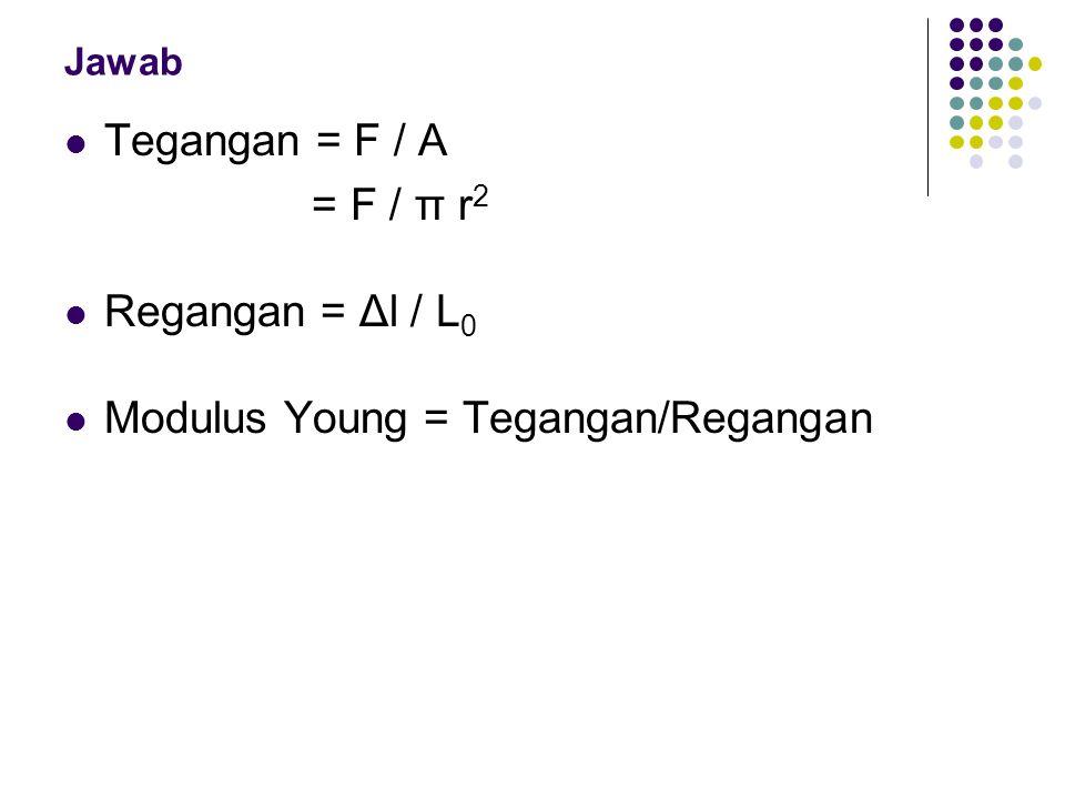 Jawab Tegangan = F / A = F / π r 2 Regangan = Δl / L 0 Modulus Young = Tegangan/Regangan