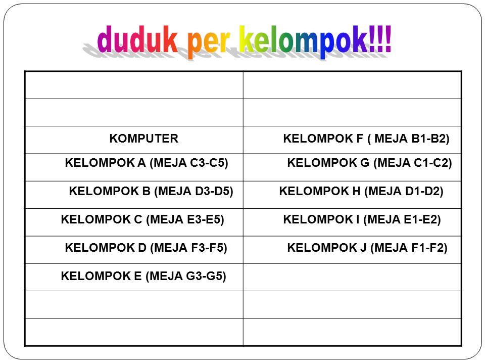 KELOMPOK A (MEJA C3-C5) KELOMPOK F ( MEJA B1-B2) KELOMPOK G (MEJA C1-C2) KELOMPOK B (MEJA D3-D5)KELOMPOK H (MEJA D1-D2) KELOMPOK C (MEJA E3-E5)KELOMPO
