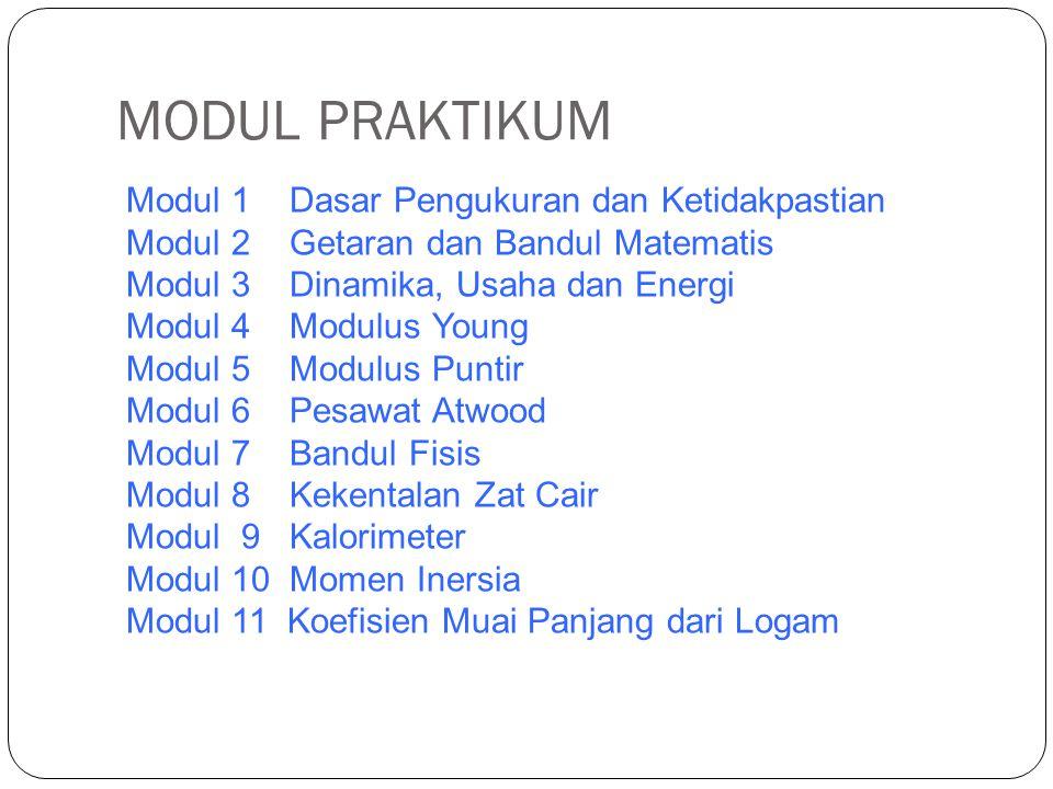 MODUL PRAKTIKUM Modul 1 Dasar Pengukuran dan Ketidakpastian Modul 2 Getaran dan Bandul Matematis Modul 3 Dinamika, Usaha dan Energi Modul 4 Modulus Yo